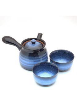 Granatowy komplet do herbaty