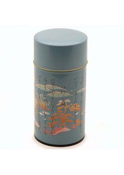 Kanji tea tin blue
