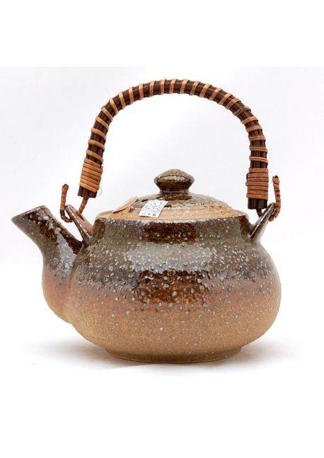 Brązowo - zielony imbryk do herbaty