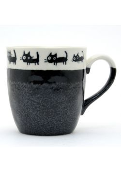 White and black neko mug