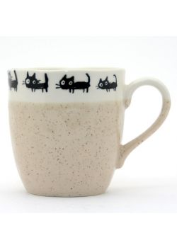White and beige neko mug