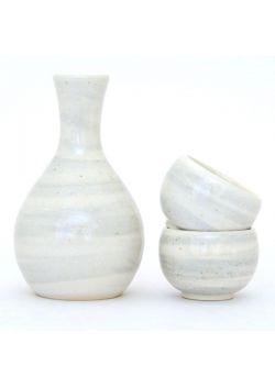 Grey and white uzu sake set