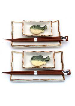 Komplet do sushi biało - brązowy
