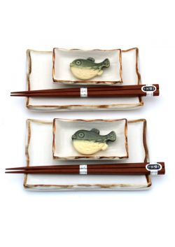 Sushi set white - brown