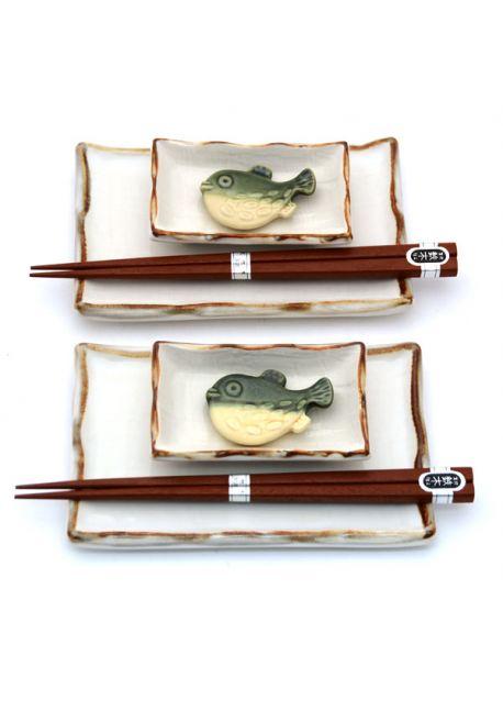 Sushi set white - brown