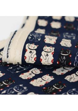 Maneki neko navy cotton  fabric