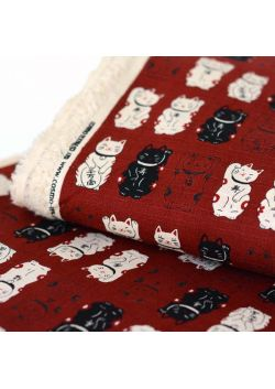 Maneki neko burgundy cotton fabric