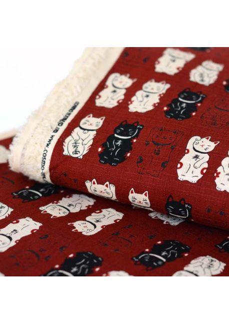 Maneki neko burgundy cotton fabric