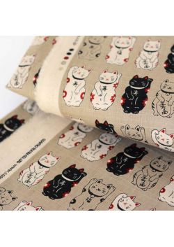 Maneki neko beige cotton fabric