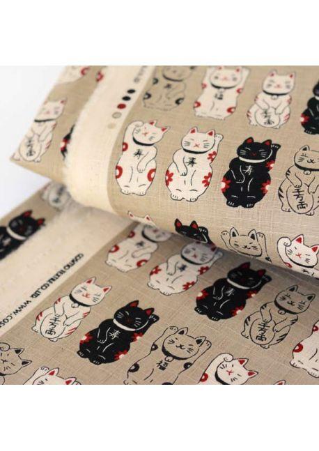 Maneki neko beige cotton fabric