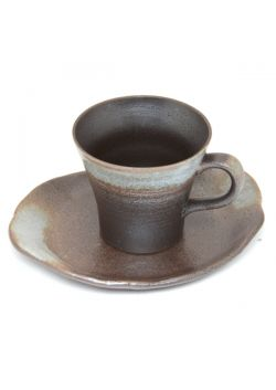 Brown - grey teacup with saucer
