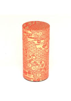 Gold nami tea tin with red pattern