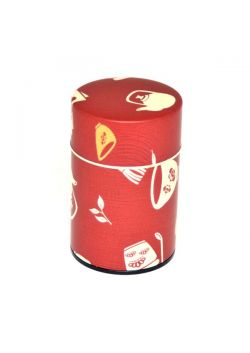 Chaki tea tin burgundy small