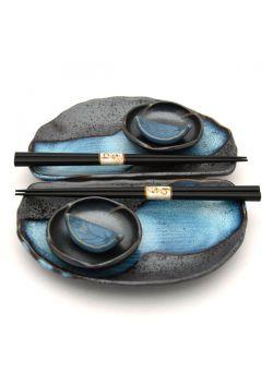 Zestaw do sushi grafitowo niebieski