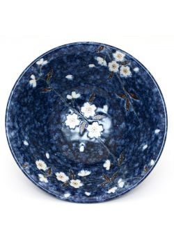 Sakura soup bowl navy blue