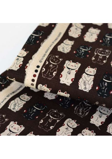 Maneki neko brown cotton fabric