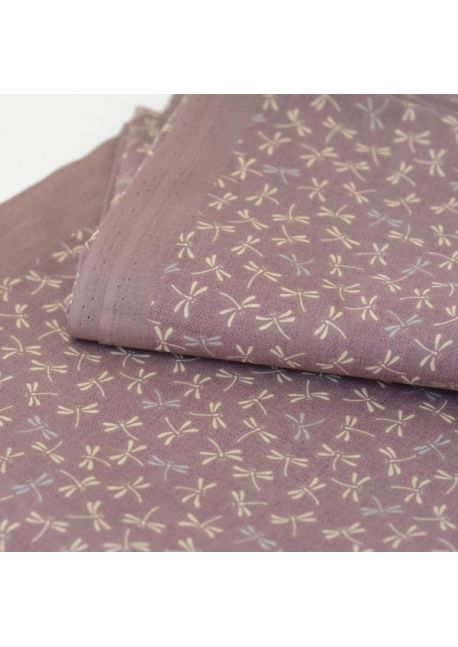 Dragonfly lilac cotton fabric