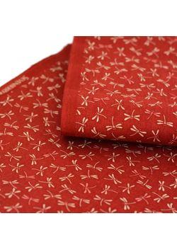 Tkanina bawełniana ważki czerwona
