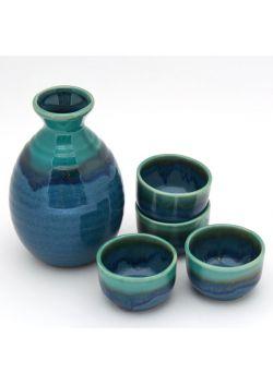 Turquoise sake set
