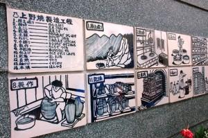 Na ścianie jedej z pracowni na ceramicznych tablicach zilustrowany jest proces wytwarzania ceramiki.